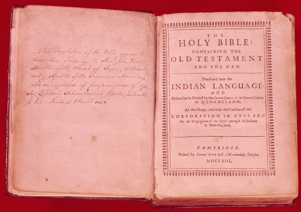 Title Page of Eliot Bible,  USA,  New York,  New York City,  American Bible Society,  1668 A.D. : Stock Photo