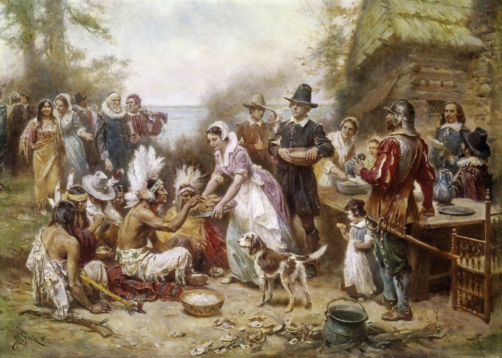 Stock Photo: 900-101850 The First Thanksgiving in 1621