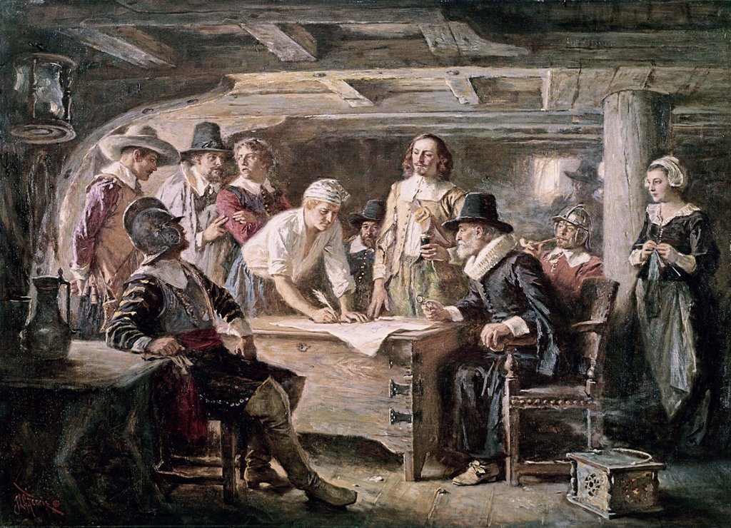 Signing the Mayflower Compact, 1620