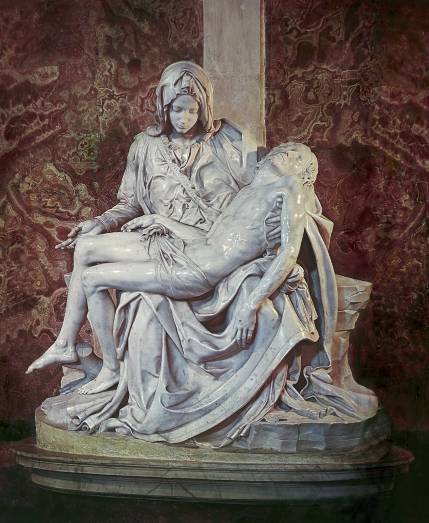 Stock Photo: 900-101888 The Pieta C.1498 Michelangelo Buonarroti (1475-1564 Italian) Marble Sculpture St. Peter's Basilica, Vatican City