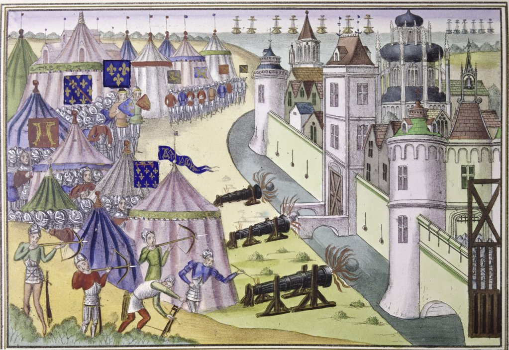 Stock Photo: 900-101912 Assault Upon a Saracen City 1380 Jean Froissart (ca.1337-ca.1410 French) Manuscript