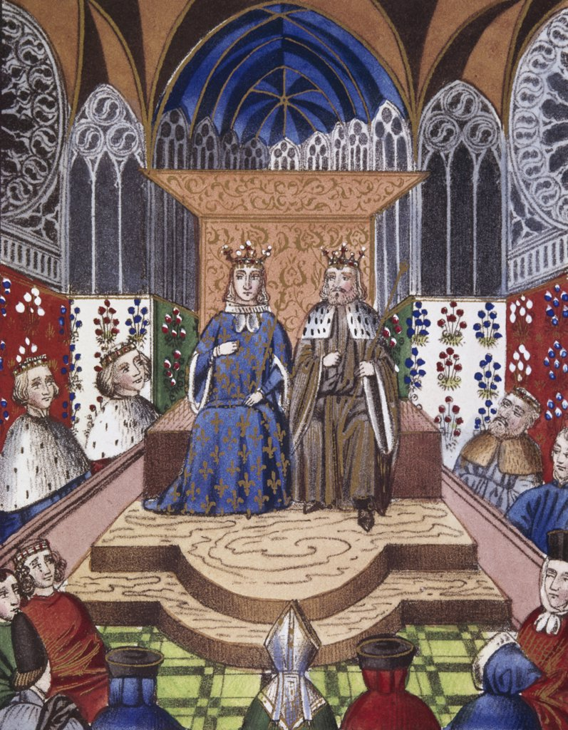 Stock Photo: 900-101914 King Of France & Emperor Of Germany In Conference 