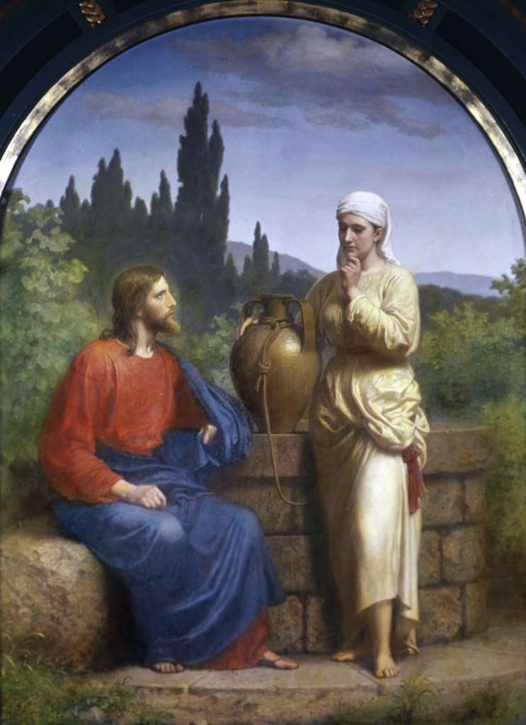 Stock Photo: 900-102156 Christ and the Woman of Samaria Anton Laurids Johannes Dorph (1831-1914 /Danish)