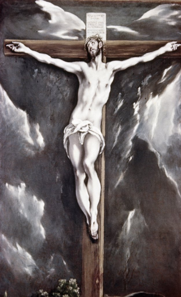Stock Photo: 900-102215 Christ With the Cross,  El Greco (1541-1614/Greek) Museo de Art de Cataluna,  Barcelona,  Spain