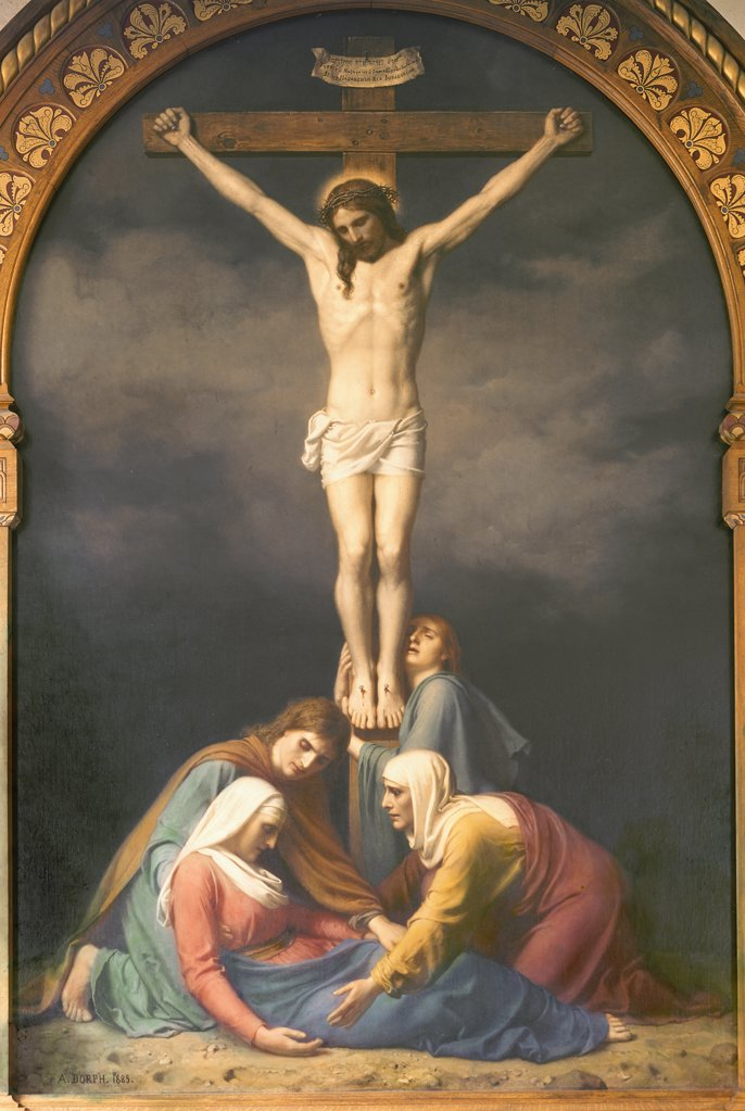 The Crucifixion  Anton Laurids Johannes Dorph (1831-1914 Danish) : Stock Photo