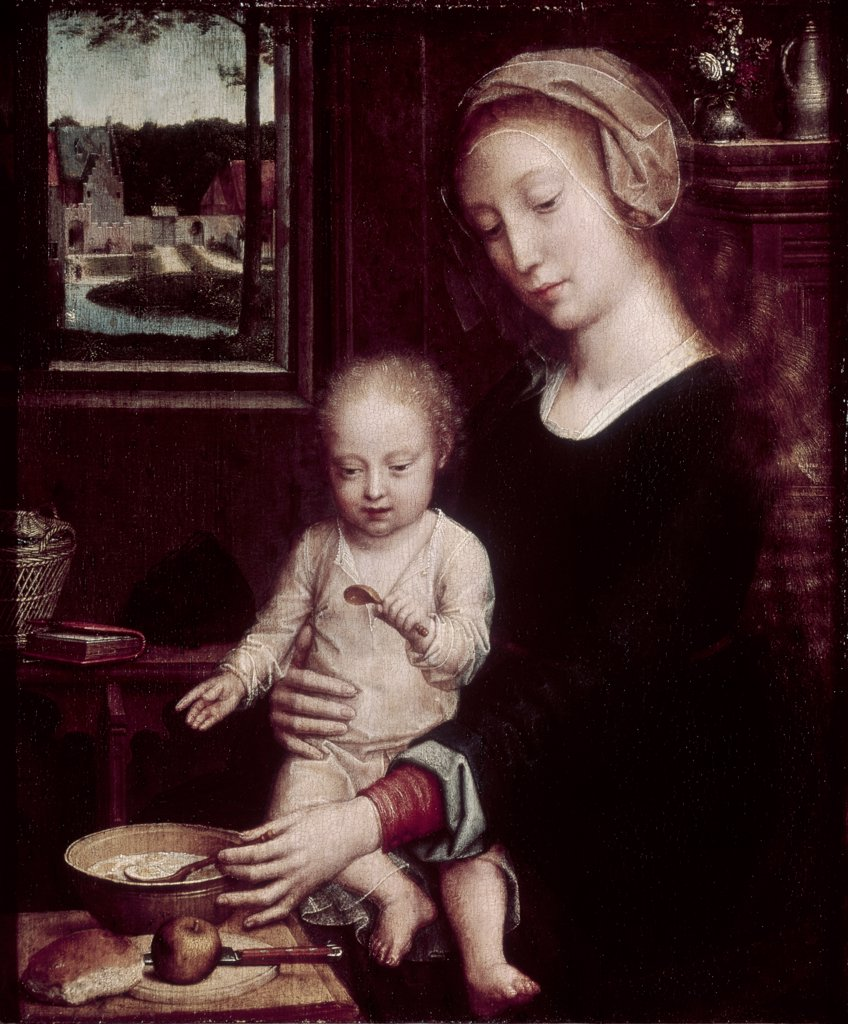 Stock Photo: 900-102847 Madonna with Child Holding Spoon 