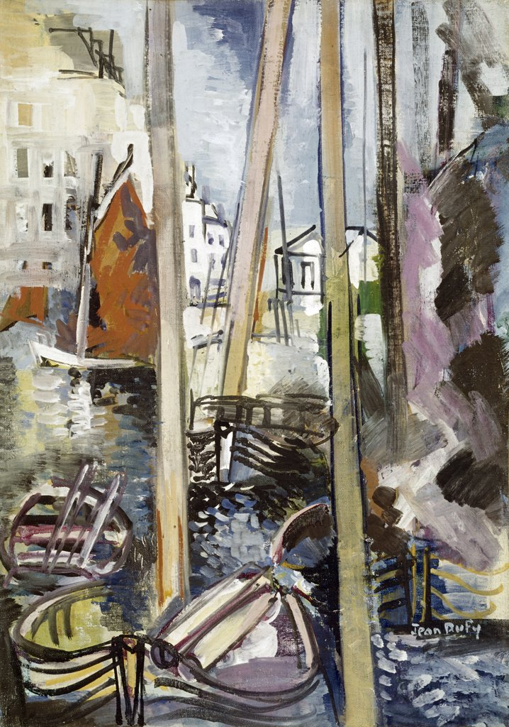 Stock Photo: 900-102999 Yachting Basin,  by Jean Dufy,  (1888-1964)