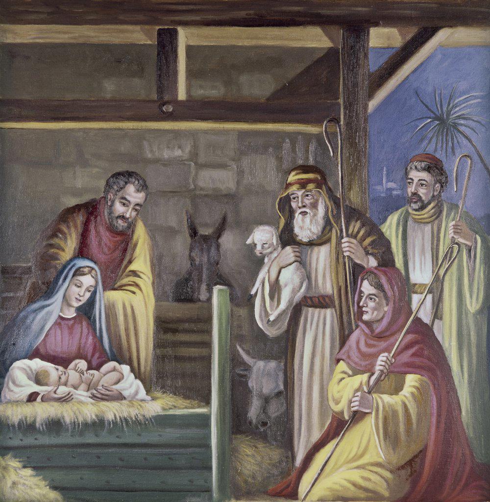 Stock Photo: 900-103415 Adoration of the Shepherds Vittorio Bianchini (1797-1880, Italian) Oil on canvas