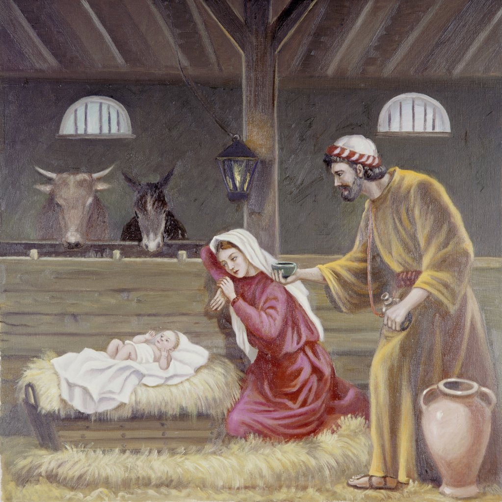 Nativity Vittorio Bianchini (1797-1880 Italian) Oil On Canvas : Stock Photo