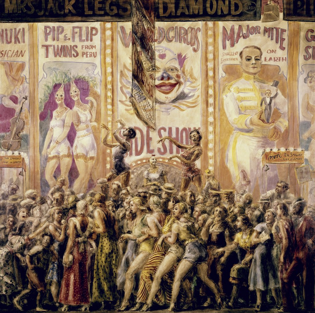 Stock Photo: 900-103486 Pip & Flip: Peruvian Twins Circus Scene by Reginald Marsh, 1898-1954