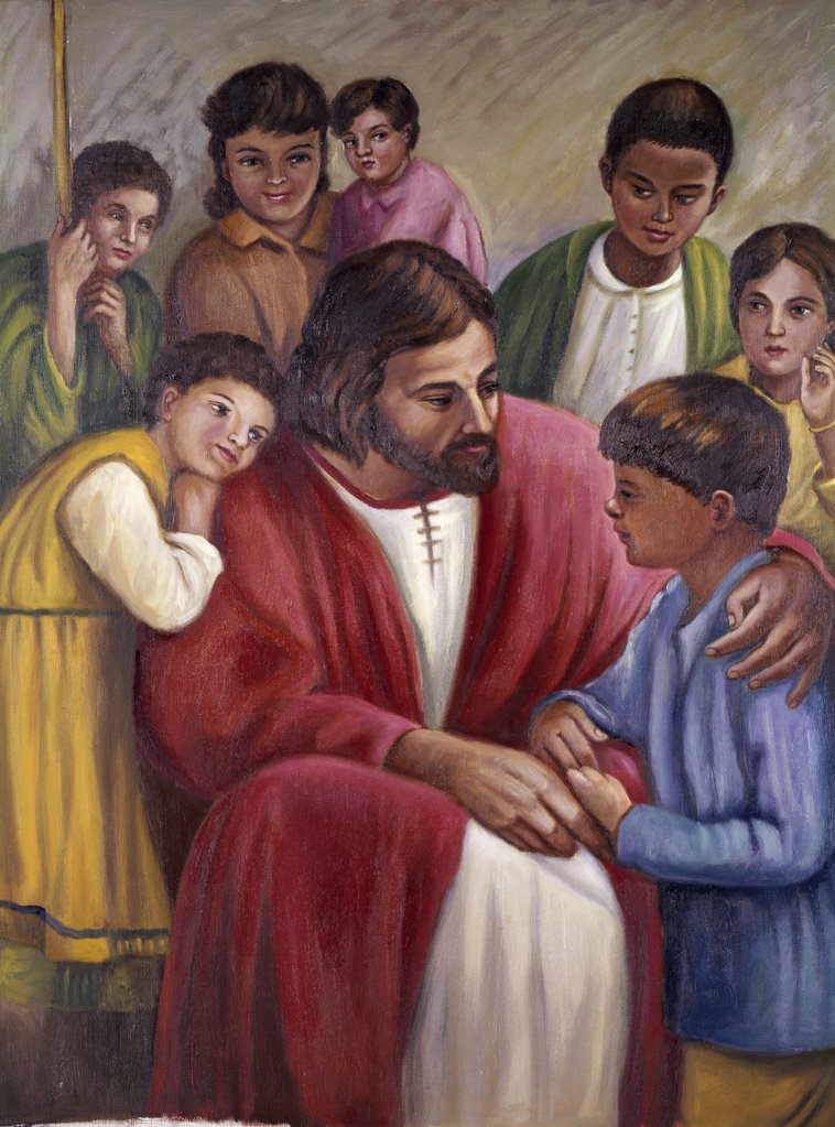 Stock Photo: 900-103564 Christ and the Children of All Races Vittorio Bianchini (1797-1880 Italian)