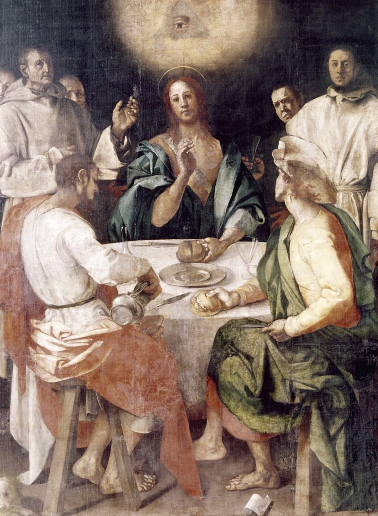Supper at Emmaus by Jacopo Pontormo, (1494-1557), Italy, Florence, Galleria Degli Uffizi : Stock Photo
