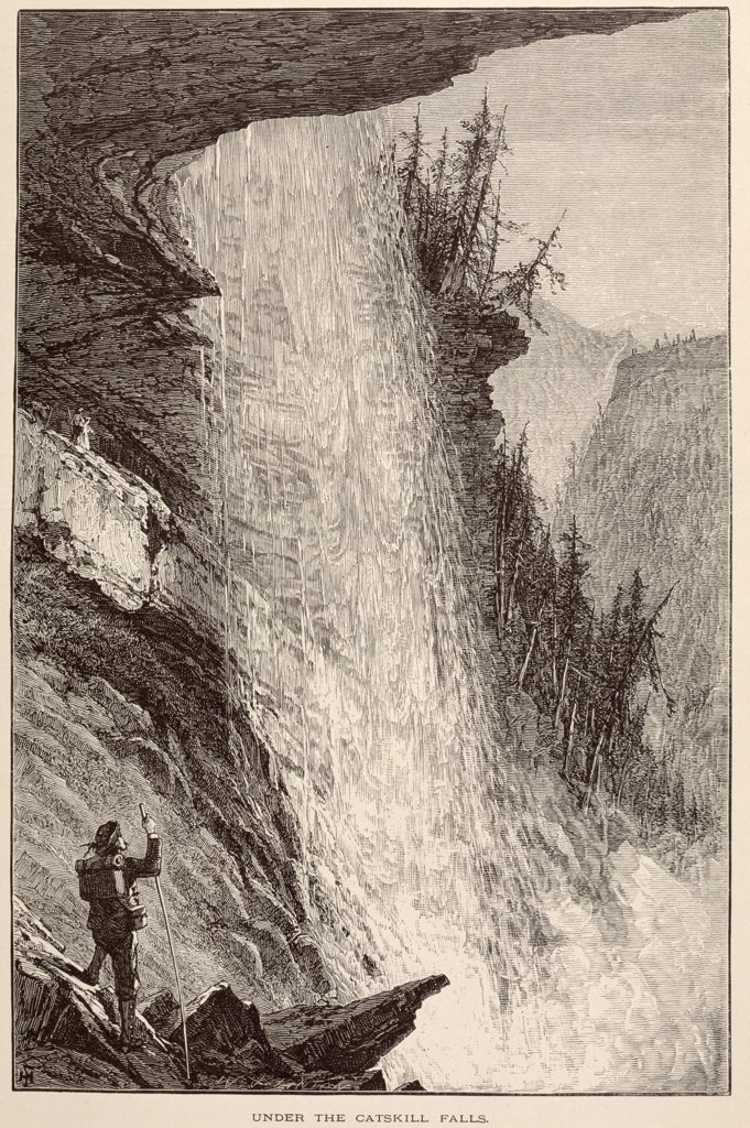 Stock Photo: 900-1039 Under the Catskill Falls by unknown artist,  etching