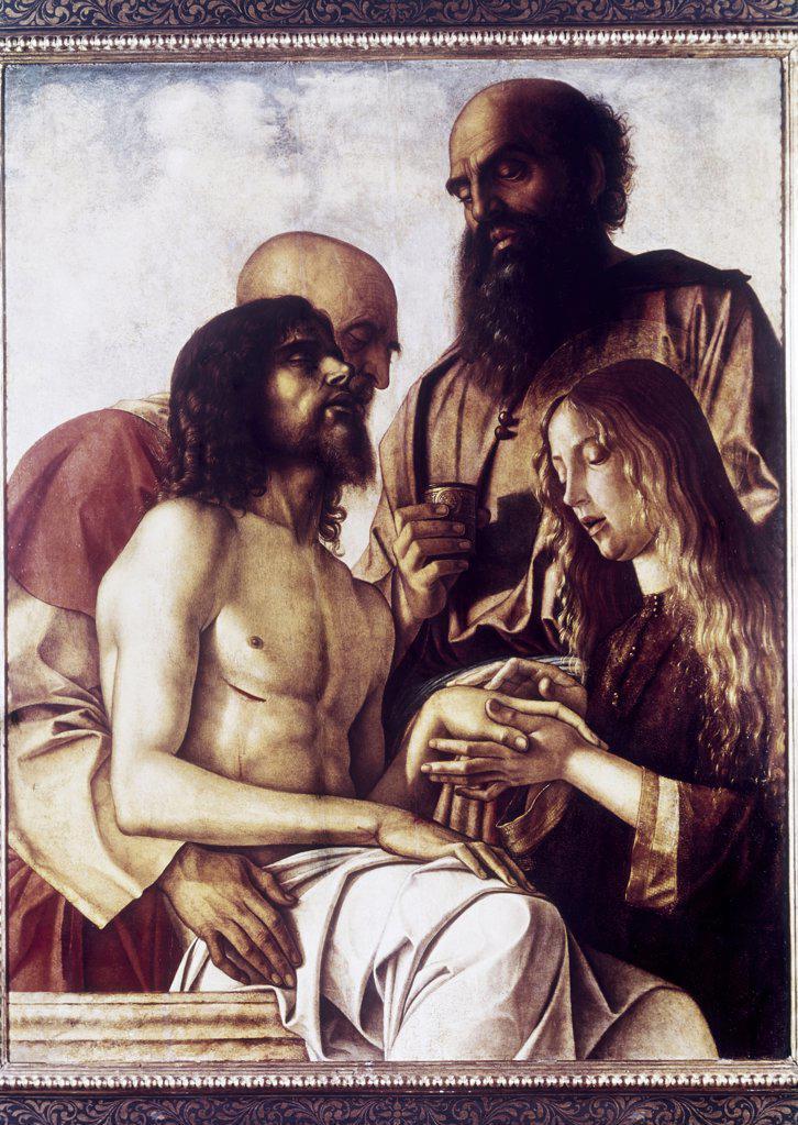 Stock Photo: 900-104097 Lament Over the Dead Christ (Pesaro Altarpiece) ca. 1473-76 Giovanni Bellini (ca.1430-1516 Italian) Tempera on panel