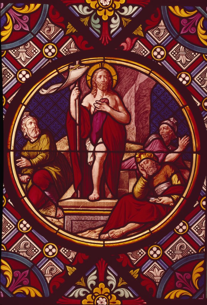 Stock Photo: 900-104248 Resurrection,  stained glass window,  19th Century