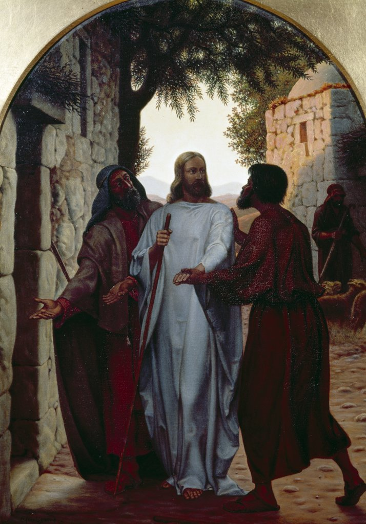 Stock Photo: 900-104546 Jesus and Disciples at Emmaus by Christen Dalsgaard, (1824-1907)