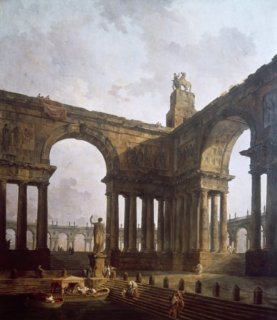 Stock Photo: 900-105356 Landing Place by Hubert Robert, (1733-1808)