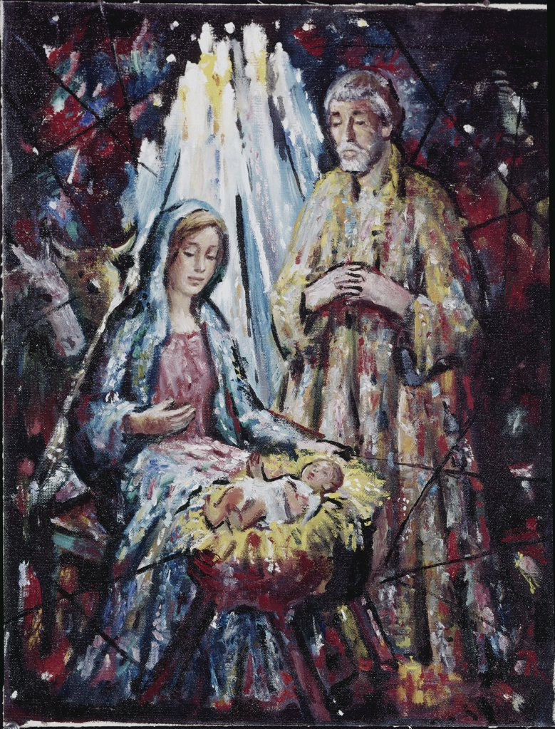 Adoration of Mary & Joseph 1910 Vladimir Mazuranic (Yugoslavian)  : Stock Photo