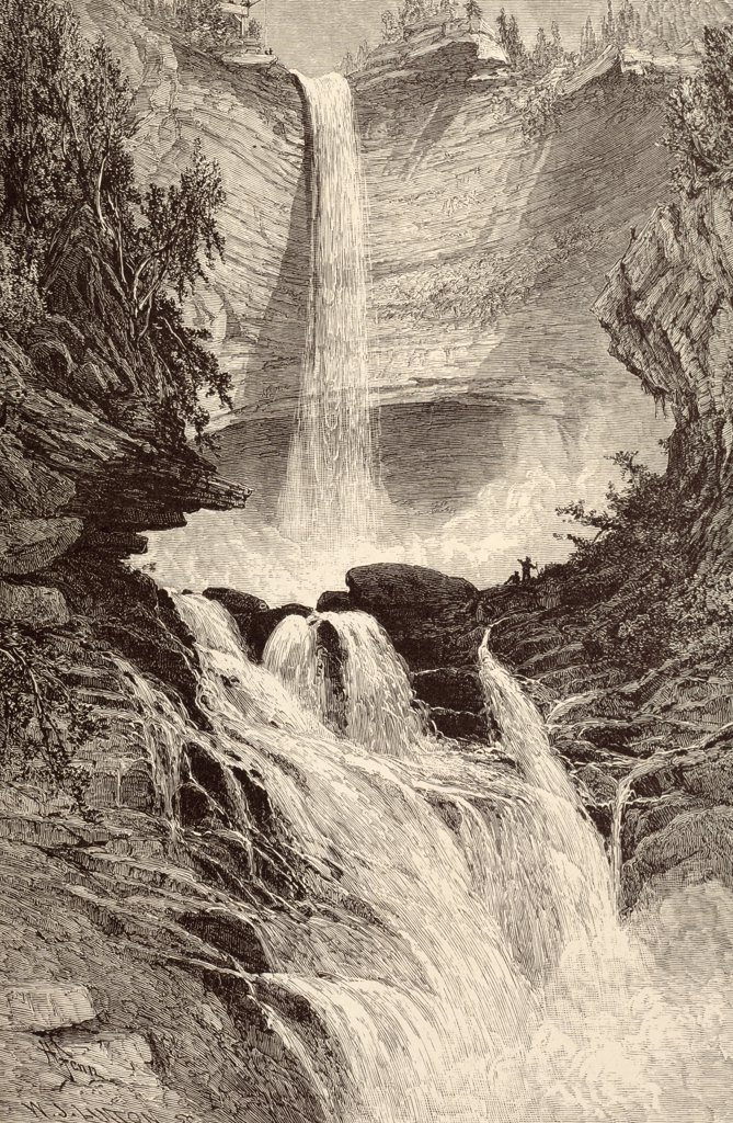 Stock Photo: 900-1065 Catskill Falls by unknown artist,  etching
