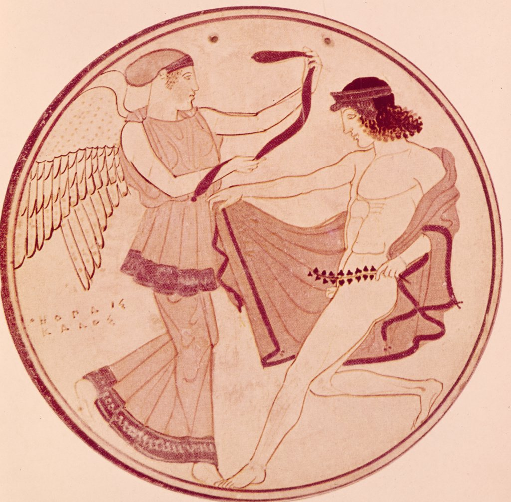 Stock Photo: 900-106880 Nike Rewarding a Victor,  High Esteem Placed on Olympic Games,  Greek Art,  450 B.C.