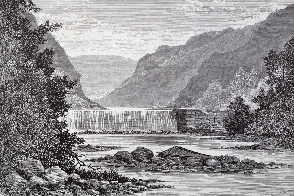 Breakwater, Ramapo Jules Tavernier (1844-1889 American) Etching : Stock Photo