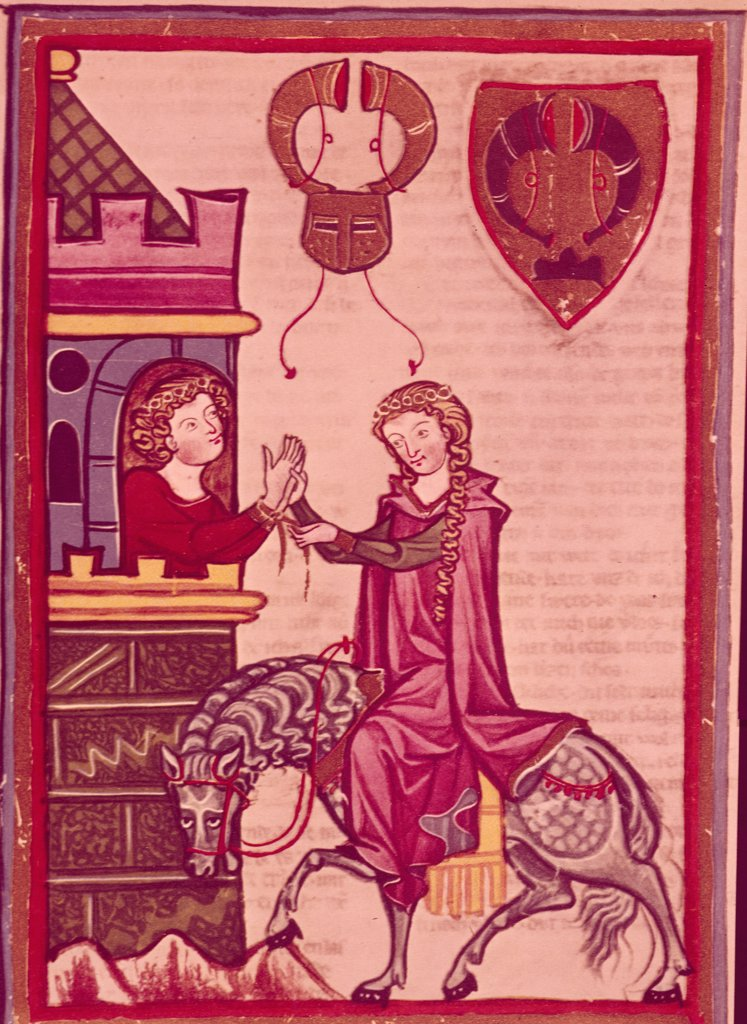 Manness Scroll: Bruno von Homberg & His Lady by unknown artist,  Illuminated manuscript,  Germany,  Heidlenberg : Stock Photo