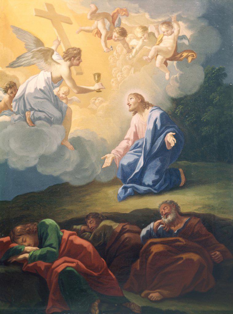 Stock Photo: 900-108331 The Agony on the Mount of Olives Hendrick Krock (1677-1738 Danish)