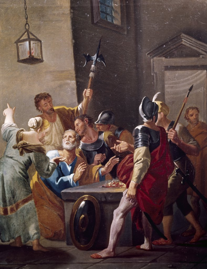 Stock Photo: 900-108334 Peter's Denial by Hendrick Krock, (1677-1738)