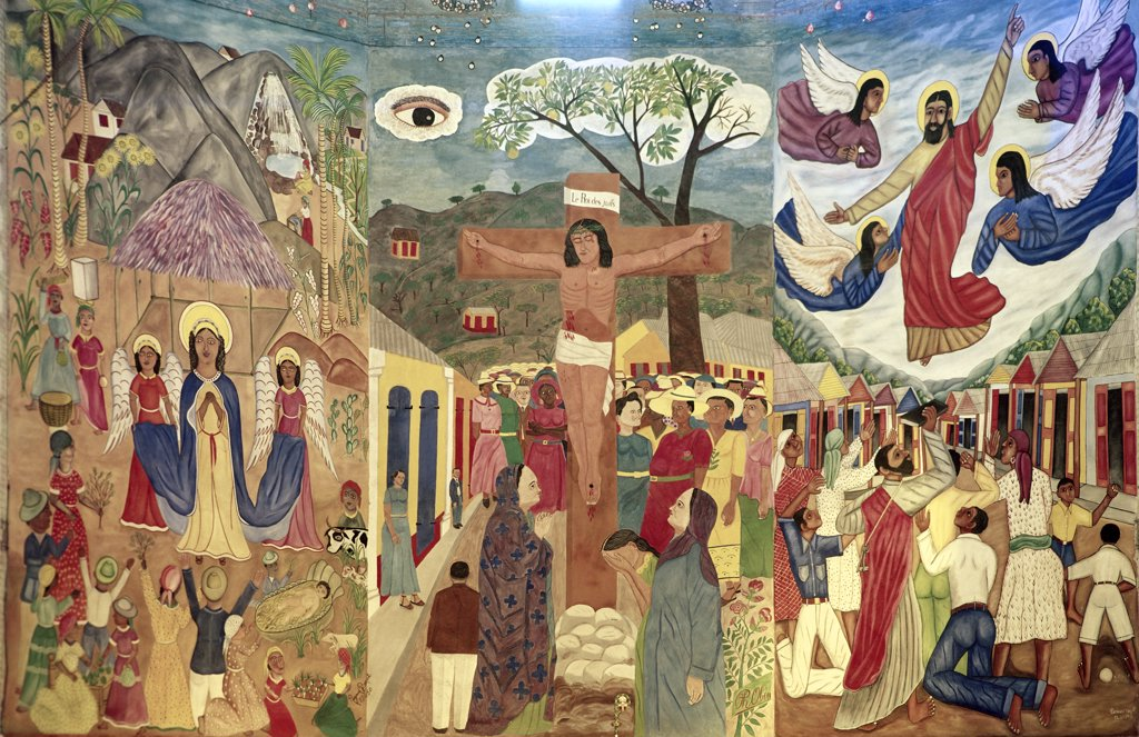 Nativity, Crucifixion and Ascension by Philome Obin, Tempera, 1891-1986, Haiti, Port-Au-Prince, Cathedral of St. Trinite : Stock Photo
