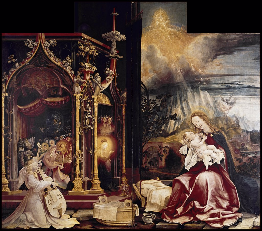 Stock Photo: 900-110637 Birth of Christ,  The, C.1510-15, Grnewald,  Matthias (1470/80-1528/German), Oil on Wood Panel , Musee d'Unterlinden,  Colmar,  France