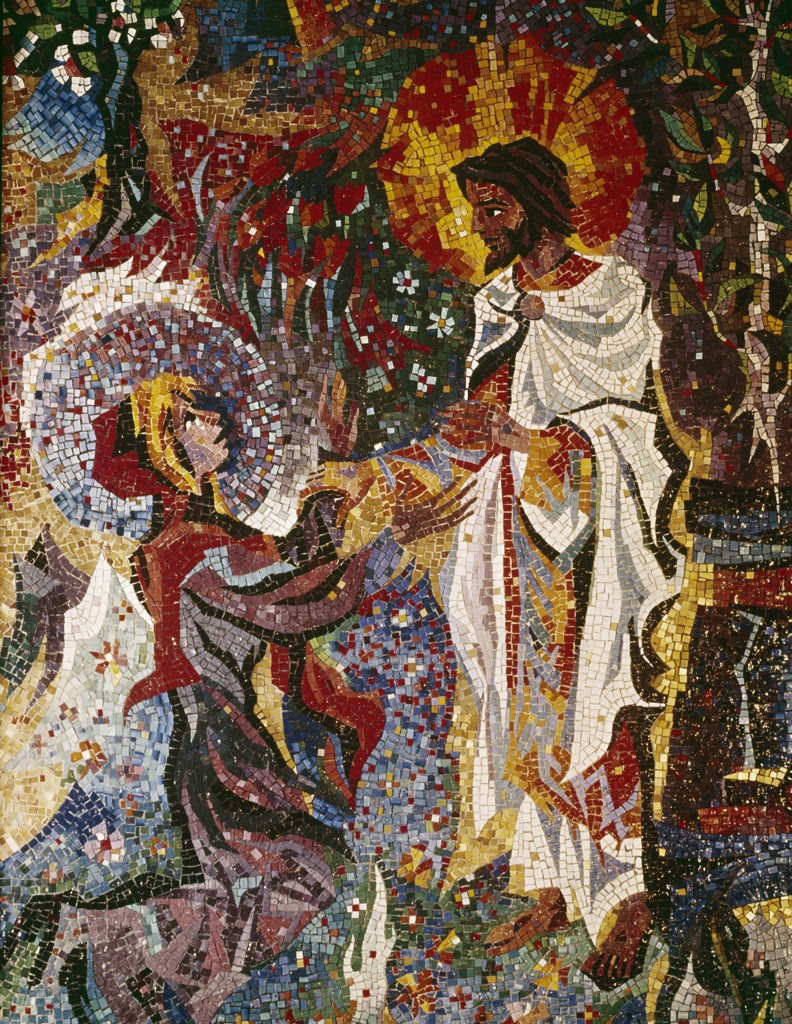 Stock Photo: 900-110721 Christ and Mary Magdalene, Artist Unknown, Mosaic