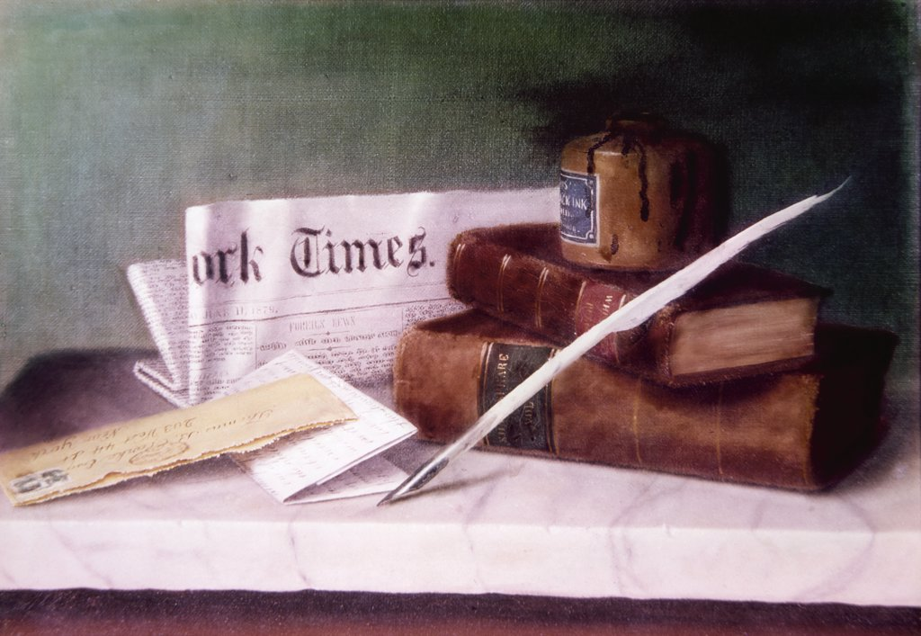Still Life with Letter to Mr. Clark by William Michael Harnett, (1848-1892) : Stock Photo