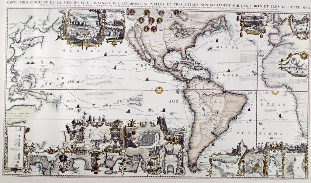 Stock Photo: 900-111018 America and the Pacific Ocean, from Chatelain's Atlas Historique, 1719