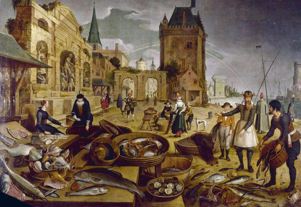 The Fish Market by Sebastian Vrancx, (1573-1647) : Stock Photo