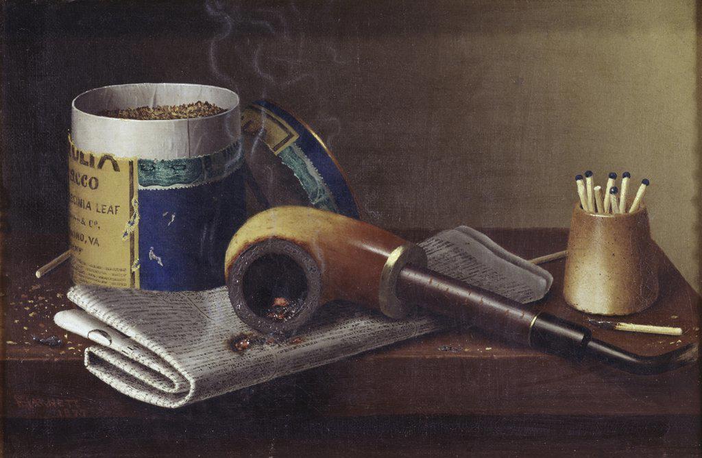 Stock Photo: 900-116275 Smoking Scene William Michael Harnett (1848-1892 American)