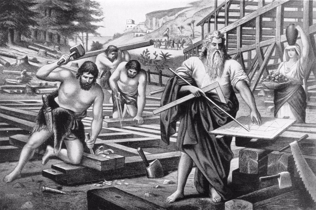 Stock Photo: 900-1163 Noah Builds the Ark