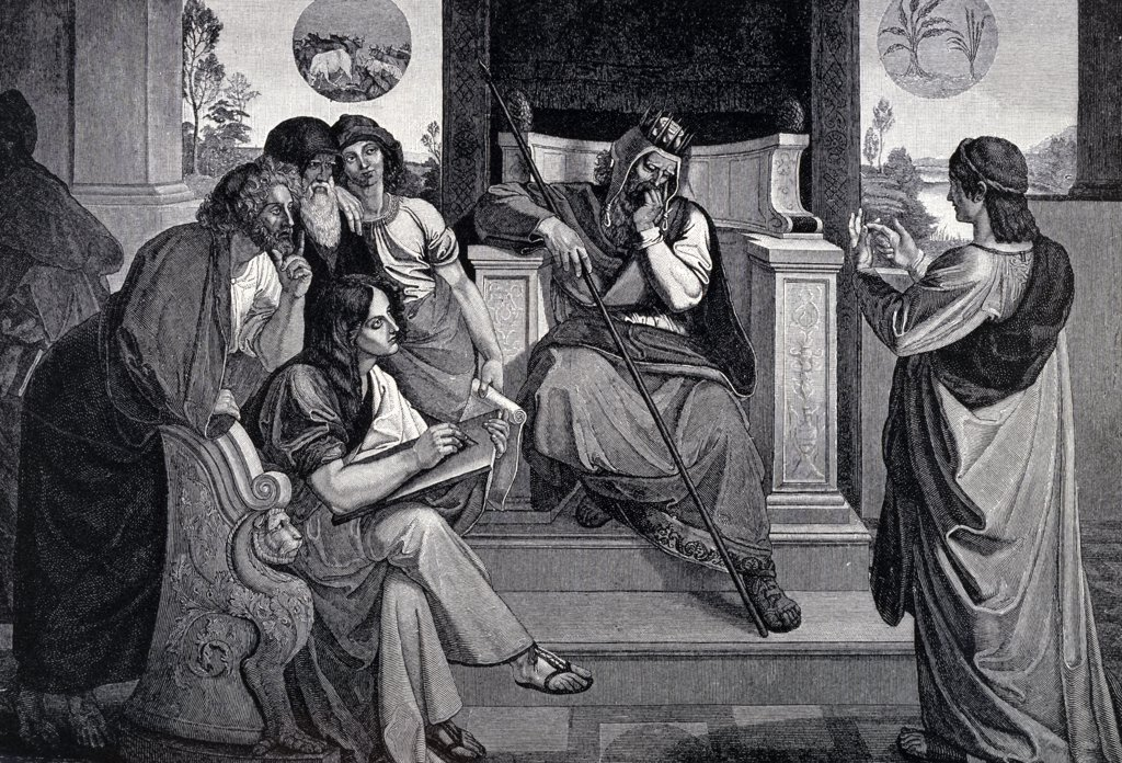Stock Photo: 900-1170 Joseph Before Pharaoh by Peter von Cornelius, engraving, (1783-1867)