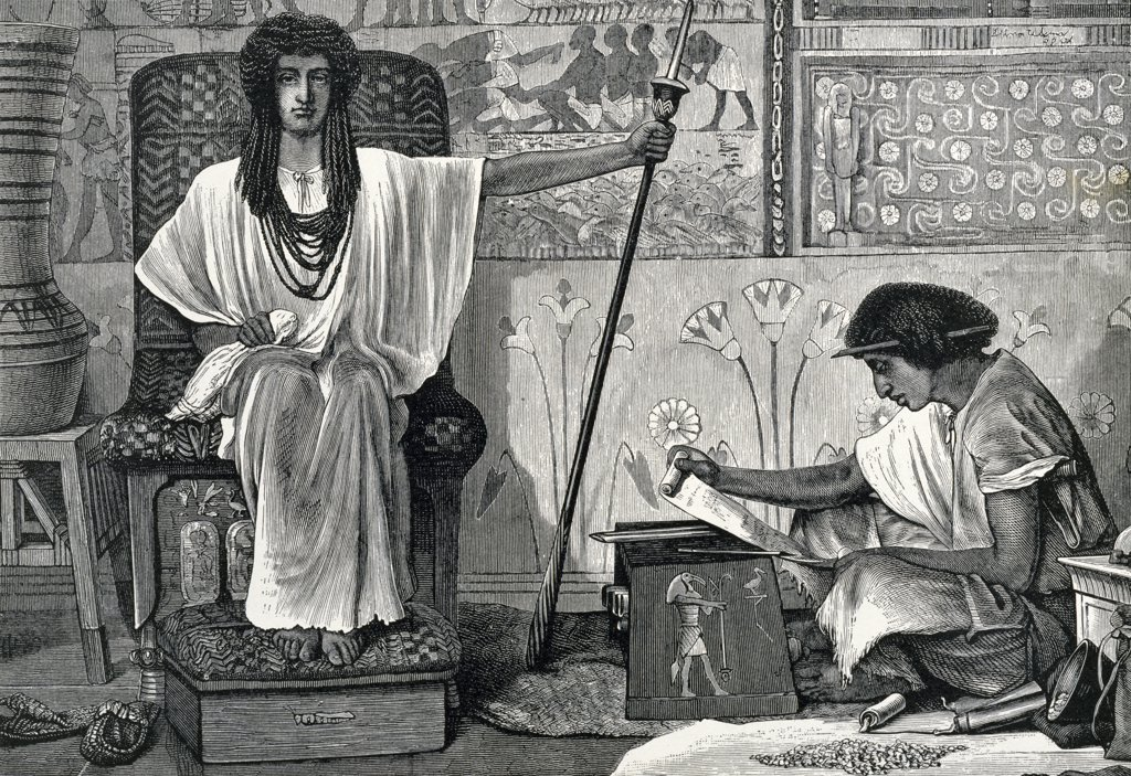 Stock Photo: 900-1172 Joseph Reorganizes Egypt by Lawrence Alma-Tadema, (1836-1912)