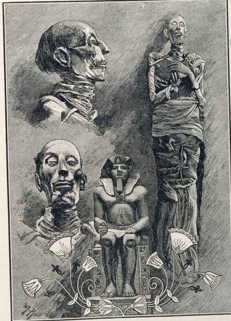 Studies Mummies & Lotus Flower by unknown artist : Stock Photo