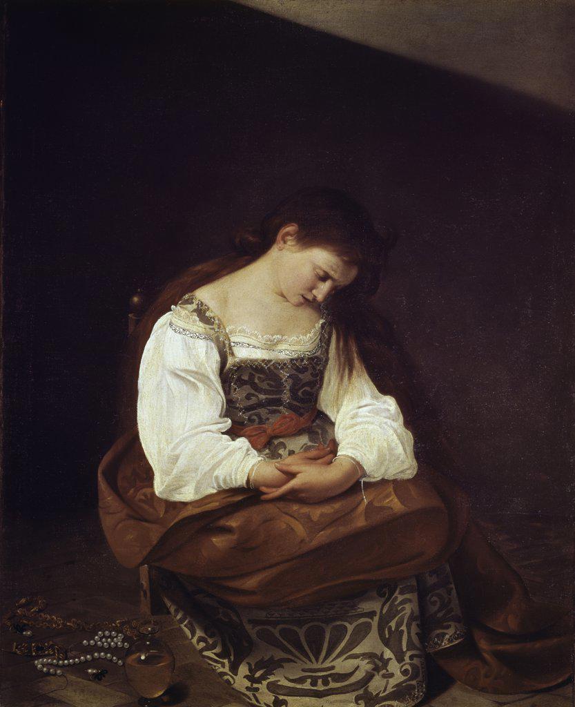 Stock Photo: 900-117783 The Repentant Magdalene Michelangelo Merisi da Caravaggio (1571-1610 Italian) Galleria Doria Pamphili, Rome