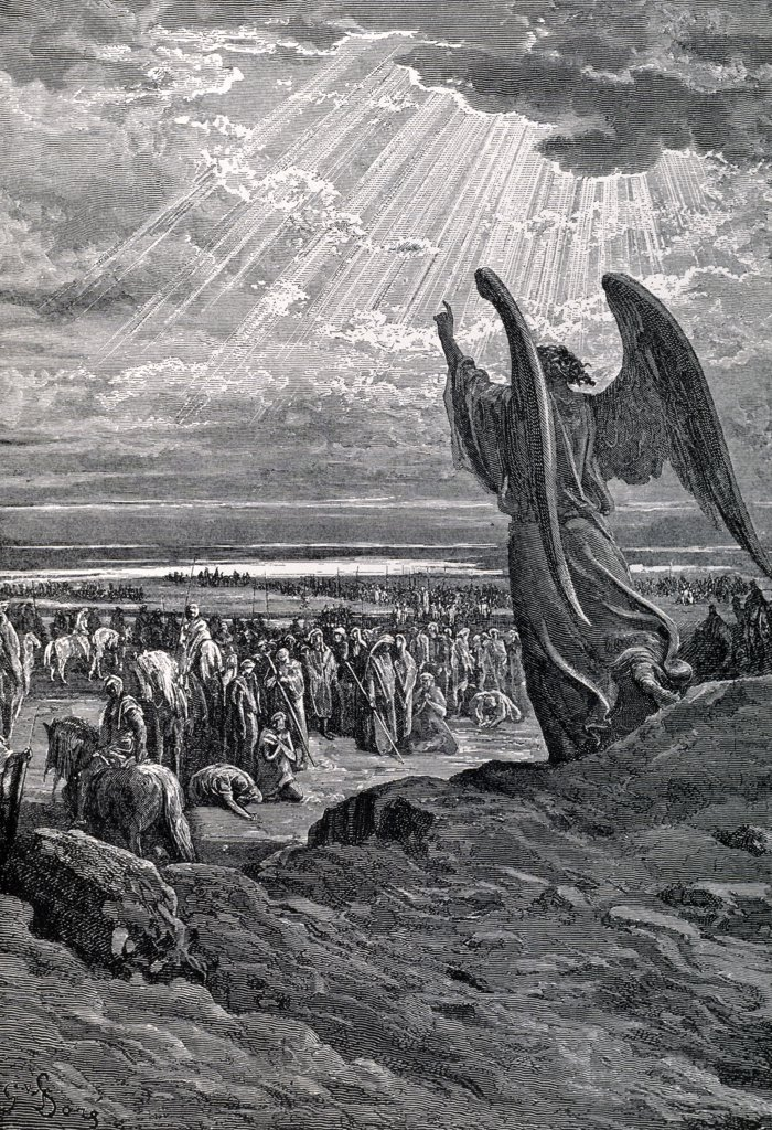 Stock Photo: 900-1179 Angel Rebukes Israel by Gustave Dore, (1832-1883)