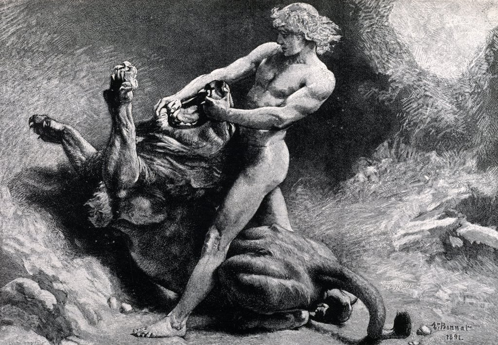 Stock Photo: 900-1181 Samson and the Lion by Leon Joseph Florentin Bonnat, (1834-1922)