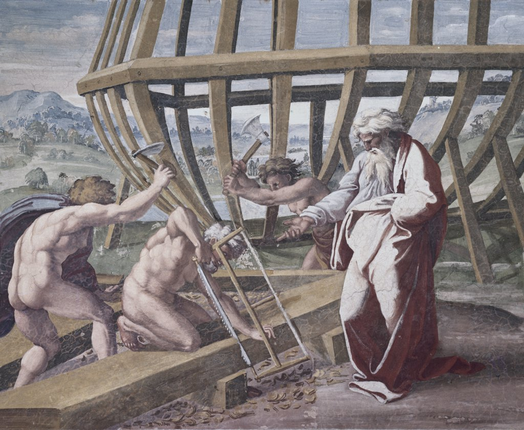 Noah Building The Ark Raphael (1483-1520 Italian) Fresco St. Peter's Basilica, Vatican City : Stock Photo