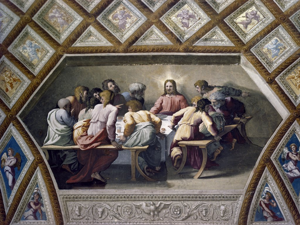Italy, Rome, Vatican City, St. Peter's Basilica, The Last Supper by Raphael Santi, fresco, (1483-1520) : Stock Photo