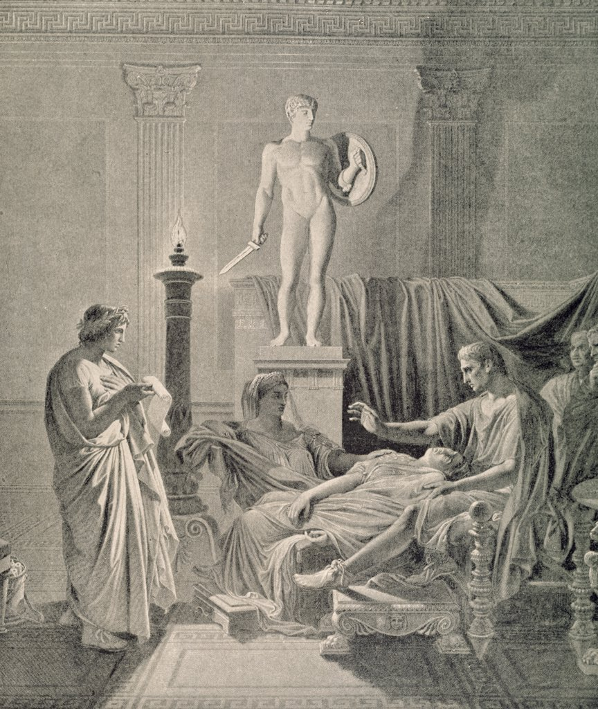 Stock Photo: 900-1202 Octavia Overcome by Virgil's Verse by unknown artist,  lithograph