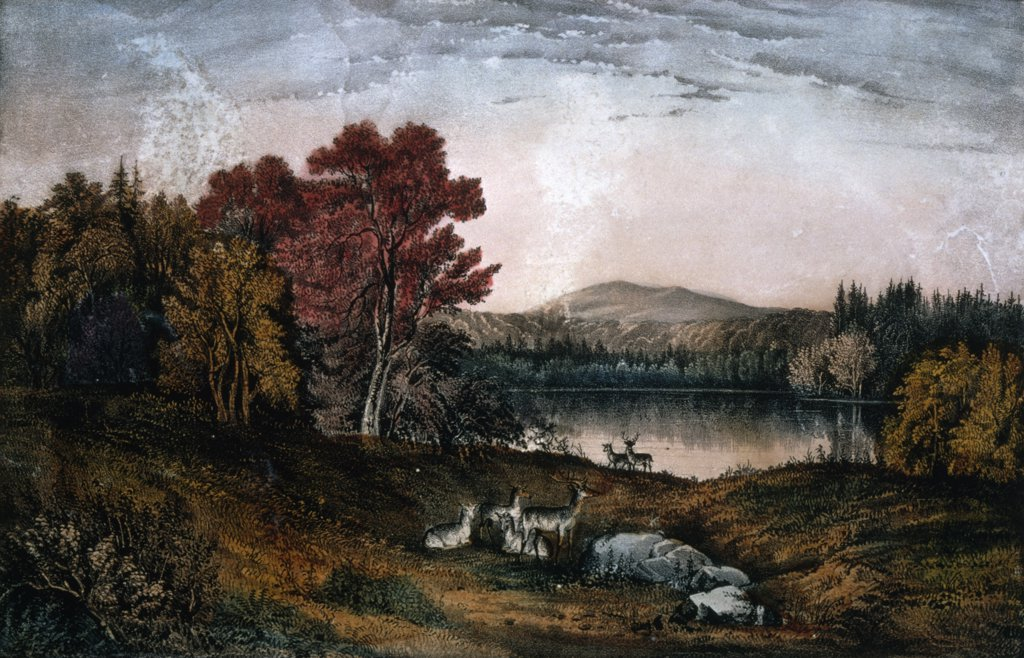 Autumn on Lake George, Currier and Ives, 1857-1907, U.S.A., Washington, D.C., Library of Congress : Stock Photo