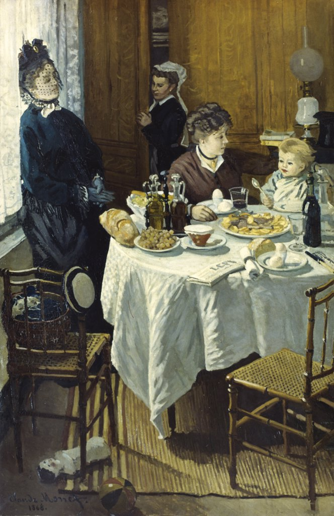 The Luncheon  1868 Claude Monet (1840-1926/French)  Oil on canvas  Stadel Art Institute, Frankfurt am Main   : Stock Photo