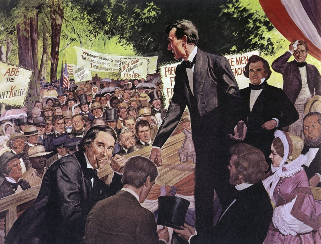 Stock Photo: 900-122407 Lincoln-Douglas Debate by H. Charles McBarron, 1858