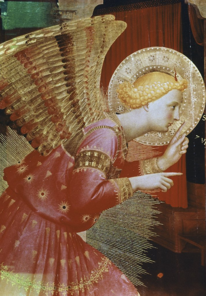 Stock Photo: 900-122805 Angel Of The Annunciation - Detail C.1432/1433 Fra Angelico (ca.1395-1455 Italian) Tempera/wood Panel Museo Diocesano, Cortona, Italy