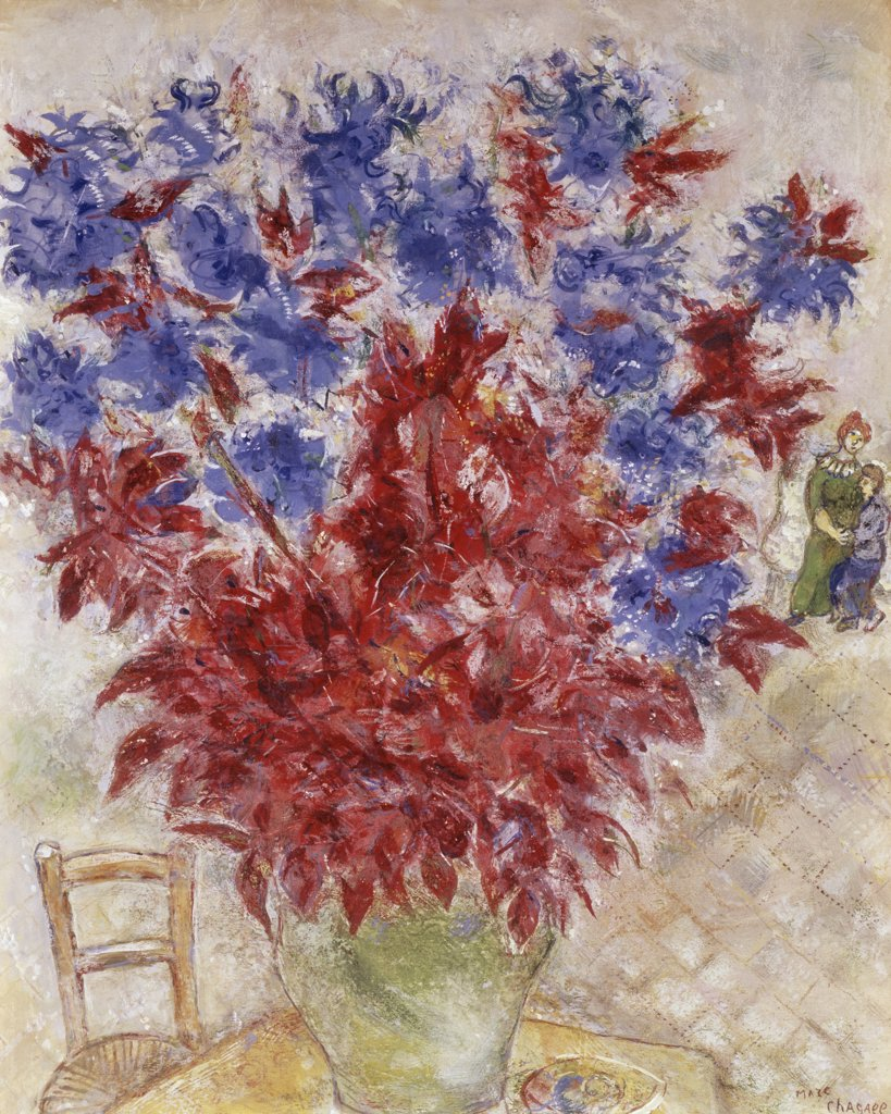 Flowers In Vase by Marc Chagall, 1887-1985 : Stock Photo